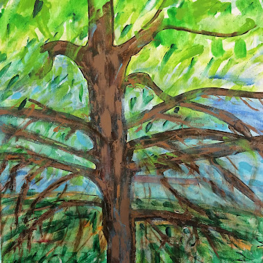 "Tree and The Blue Hill Mountains of Kentucky  16"" by 20""  SOLD"