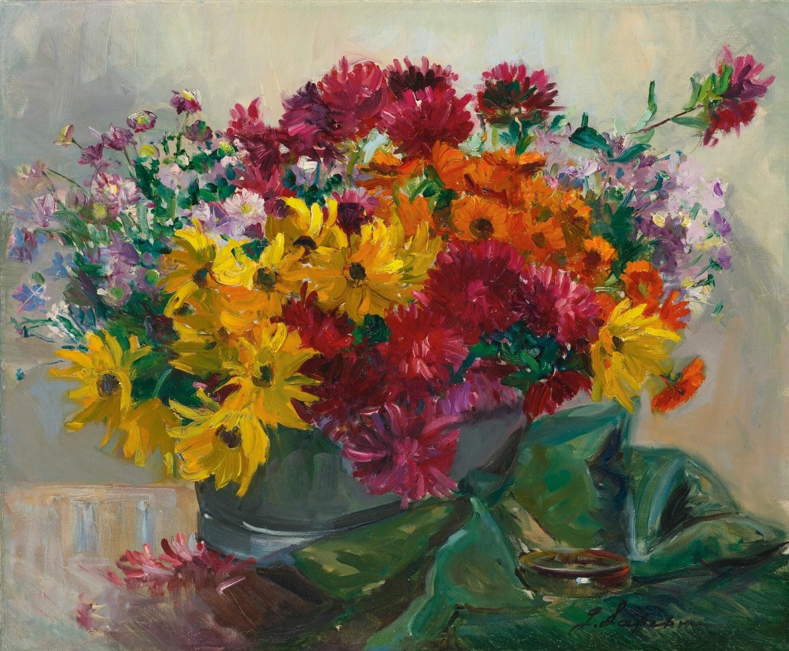 Georges Lapchine Panier de fleurs
