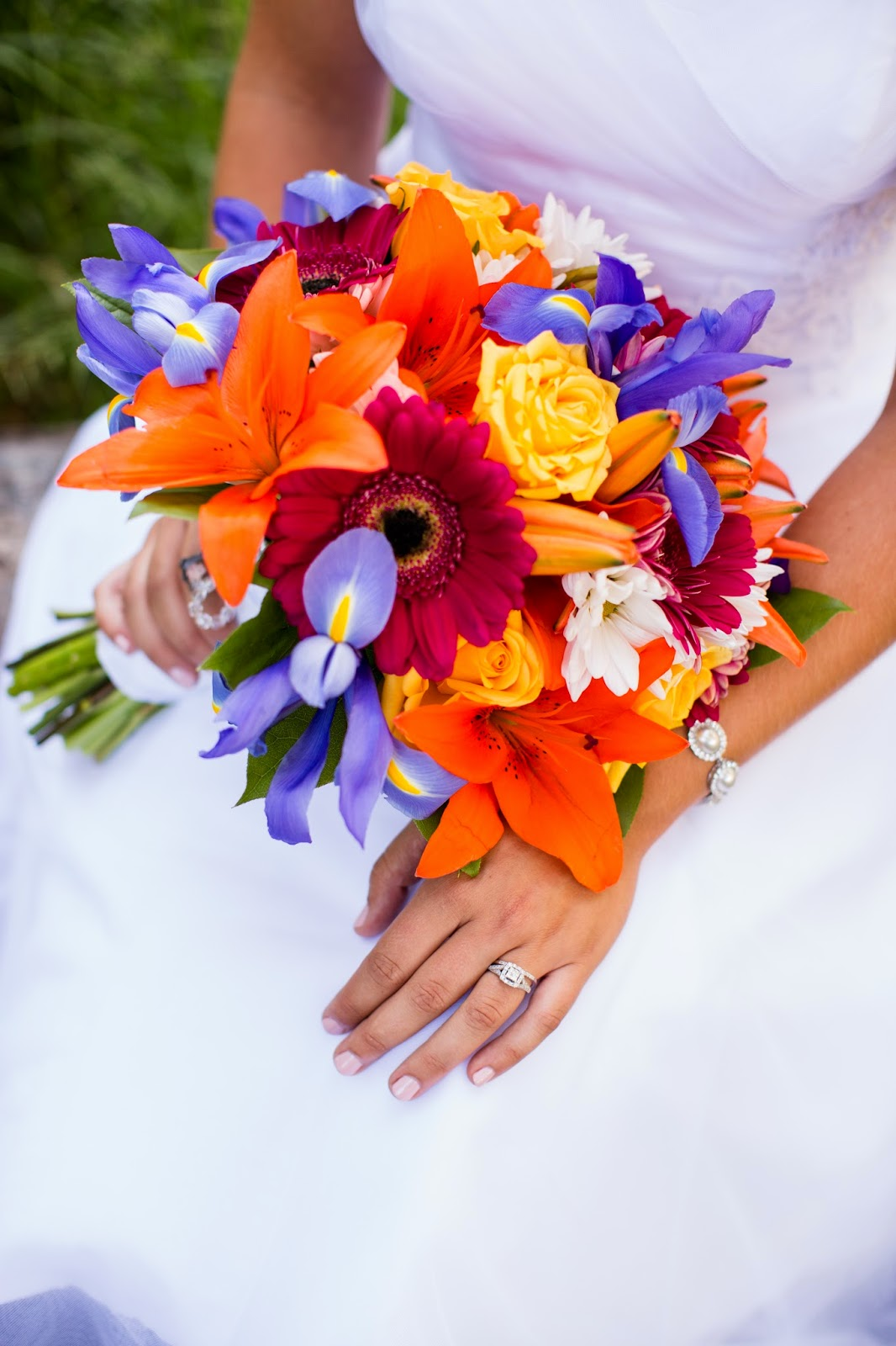 bright colored bridal bouquet // Huong Forrest Photography // Take the Cake Event Planning
