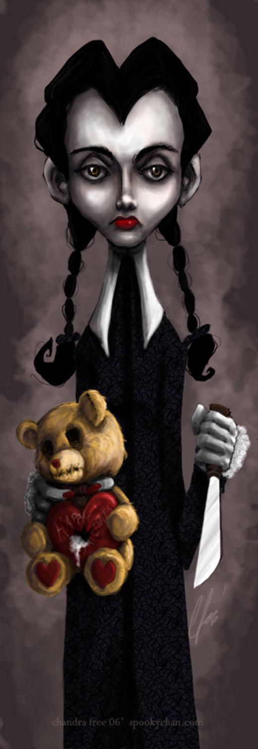 Wednesday Addams -Happy V-day- por SpookyChan