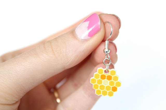 DIY honeycomb earrings using shrinky dink plastic