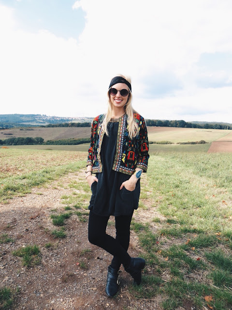 CN Direct embroidered jacket, NatureLook agate cuff bracelet, Charlotte Russe gold buckle boots, Charming Damsel lace headband, Emblem Eyewear round sunglasses, boho outfit, bohemian outfit