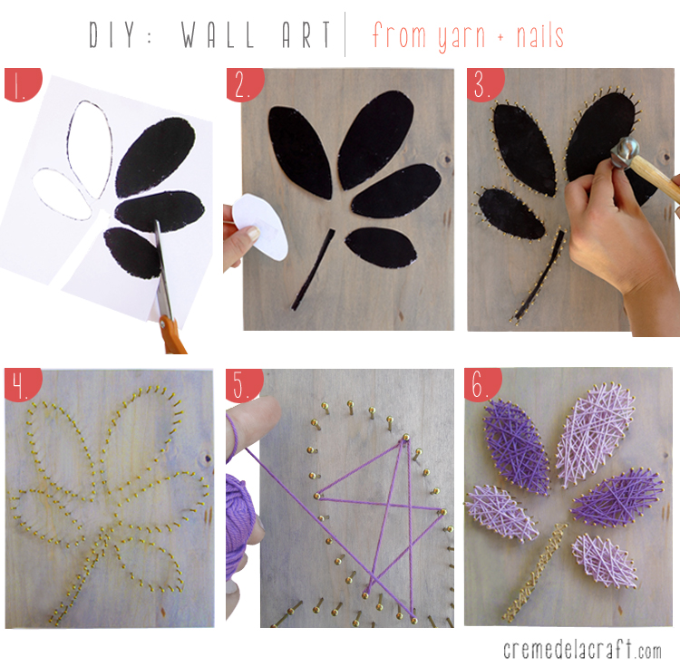 Arts And Crafts Wall Decor Ideas : Diy wall art from yarn nails
