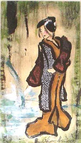 ragazza giapponese giappone dipinti pittura dipinto orme magiche quadro disegno pittura spirituale arte zen
