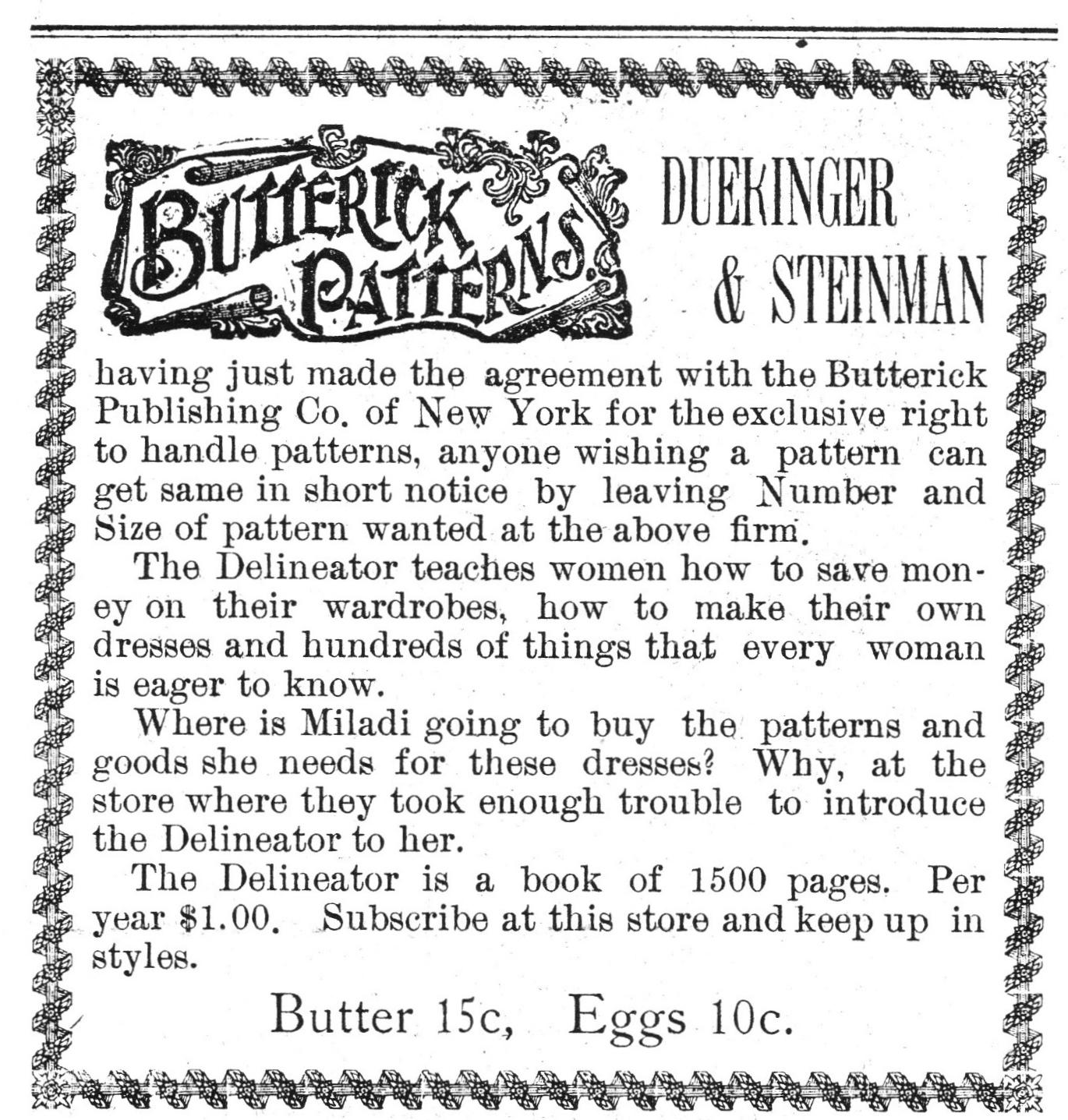 Dueringer & Steinman 1901 Ad