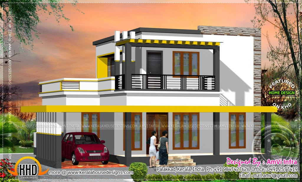 Front Elevation Of 120 Yards Houses : Square yards house elevation and plan kerala home
