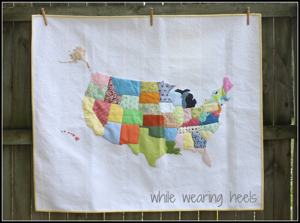 While Wearing Heels: Embroidered USA Quilt - Part 1