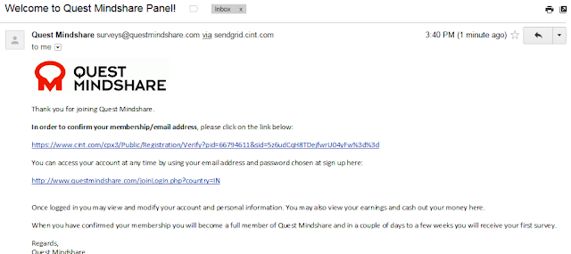 Click the verification link to complete the registration on the email sent by Quest MindShare