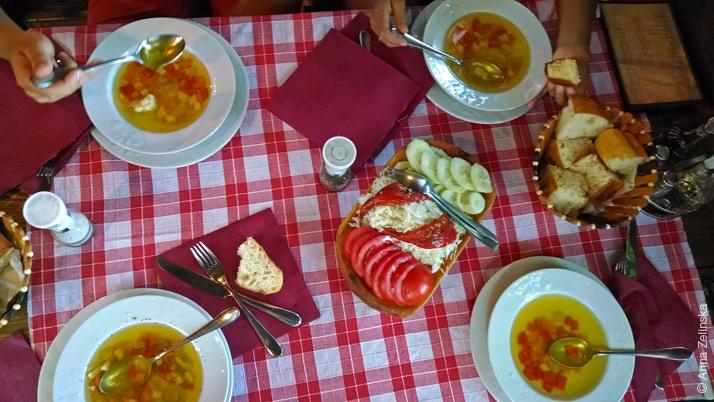 Первое блюдо и салат, ресторан «Кужина»