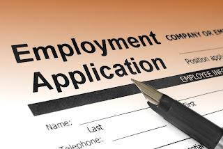Photo of a job application.