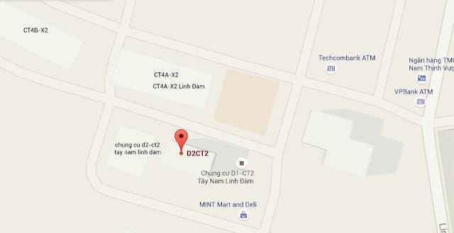 Vị trí Tòa Chung Cư D2CT2 Linh Đàm google Map