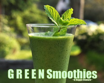 A 'green smoothie', here, banana, mango and spinach