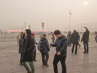 The view from Tiananmen Square in Beijing on Jan. 12, 2013. Pollution and the costs of cleaning it up may lead China to review its coal gasification projects.  (Credit: Michael Davis-Burchat, Flickr) Click to enlarge.