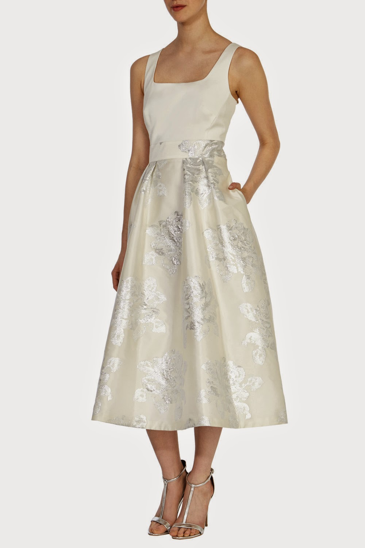 coast cream satin dress, coast floral skirt dress,