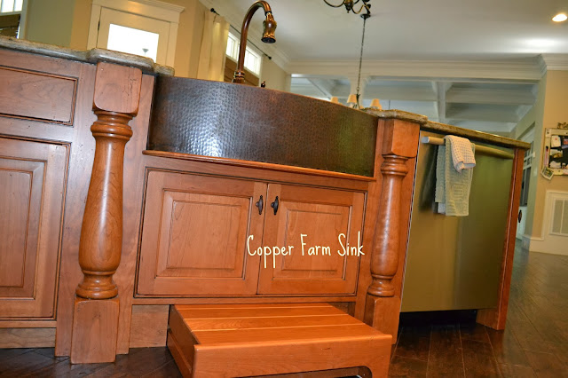copper-farm-sink, pull-out-step-under-sink