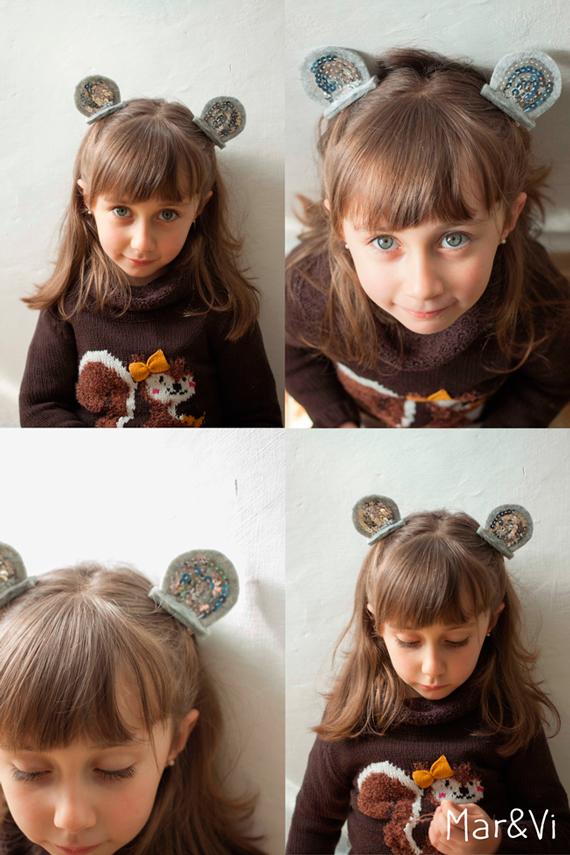 pasadores con orejitas de fieltro