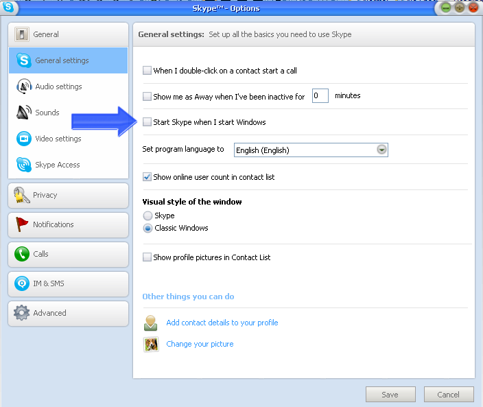 how to close the contacts window in skype