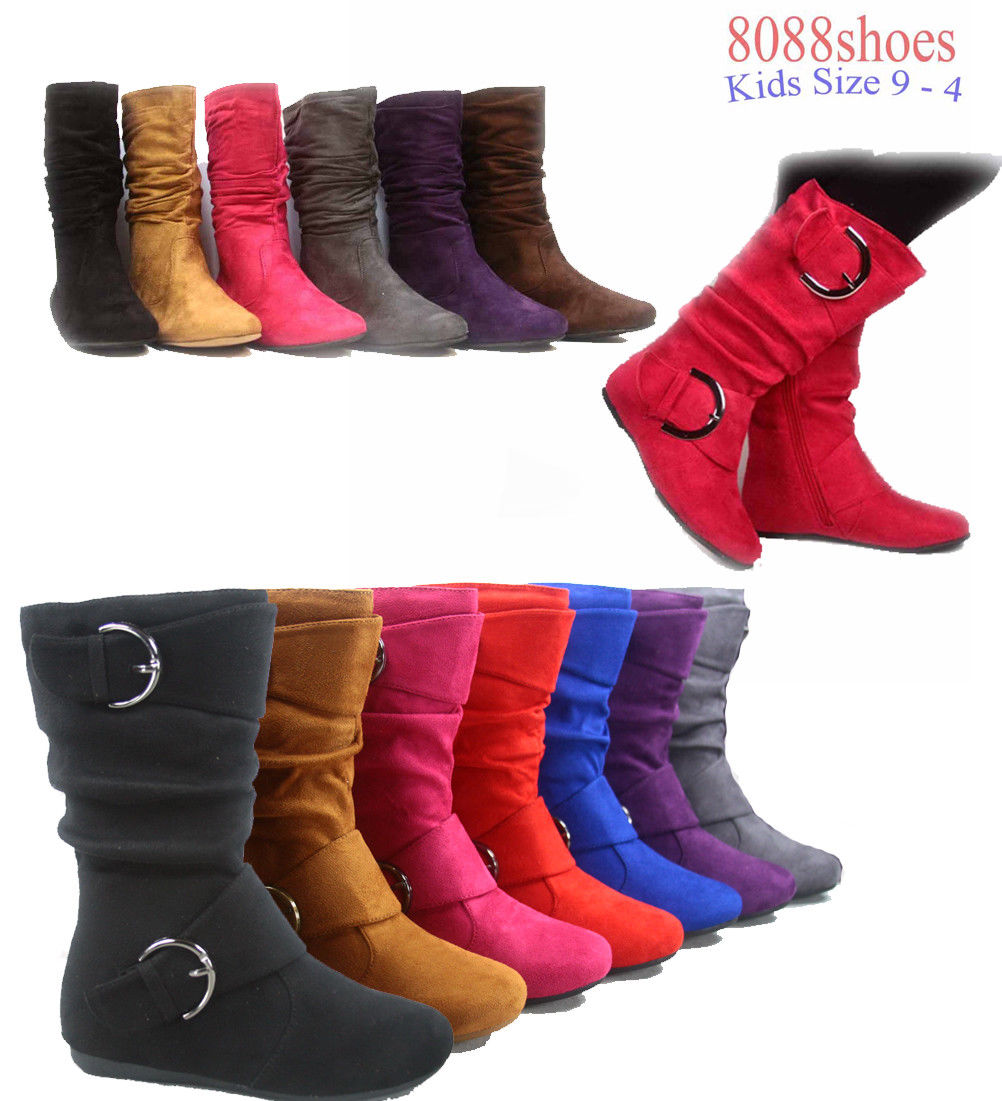 Only $12 - Girl's Kid's Cute Zipper Flat Heel Mid Calf Slouchy Boot Shoes 9 - 4, 7 Colors