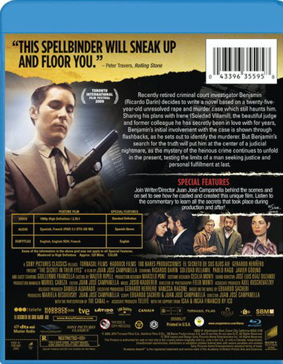 The Secret in Their Eyes Blu-ray Dvd Back Cover