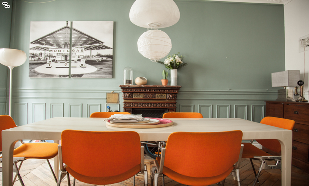 orange and grey dining room