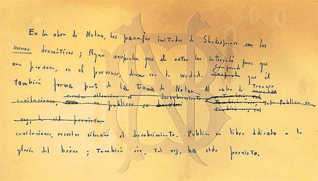 Manuscrito de Borges hallado en 2013