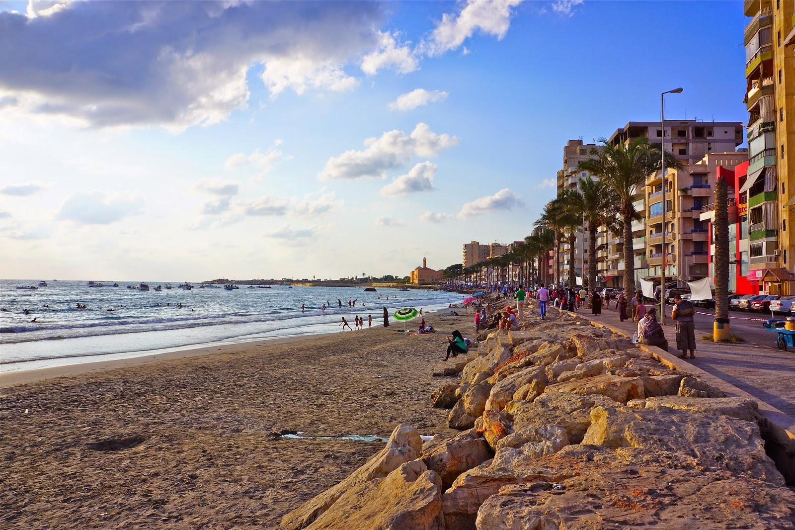 Picture of the beach and Corniche in Tyre, South Lebanon.