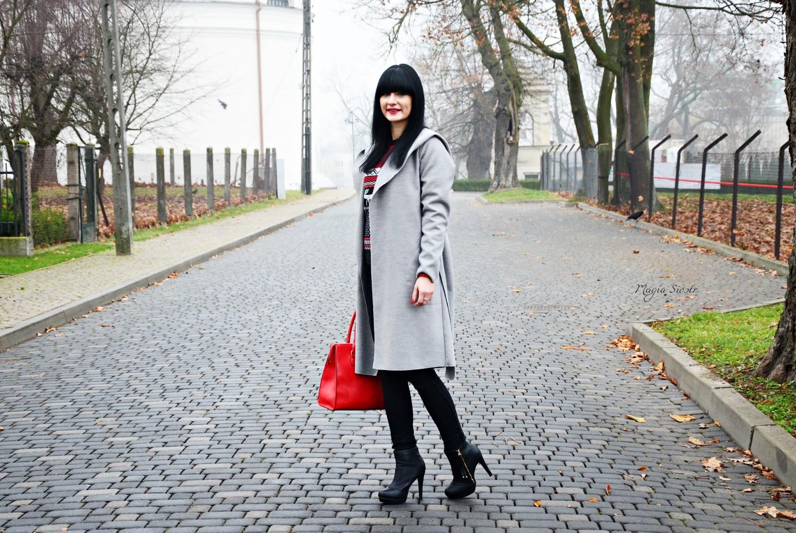 szary płaszcz, płaszcz na jesień, stylizacja jesienna, blog o modzie