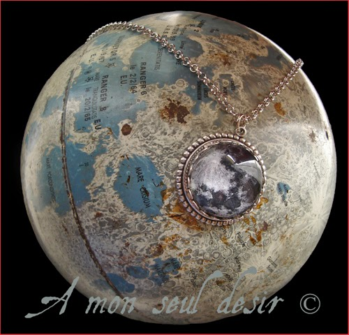 Collier pleine lune lunaire Sélénite full moon necklace