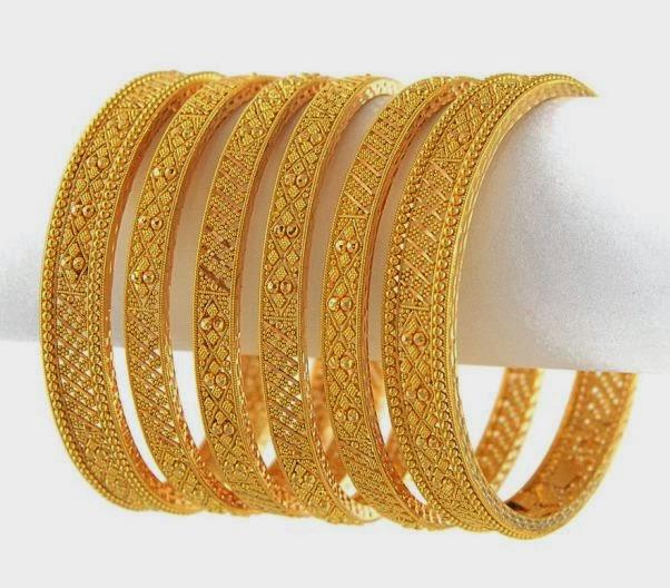Latest Gold Bangles Design 2014 for women Yoga Jasmine Camelia 03