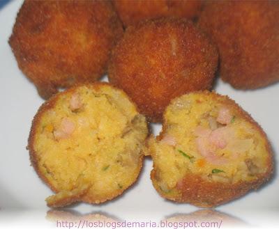 Bolitas de patatas de champiñones y jamón