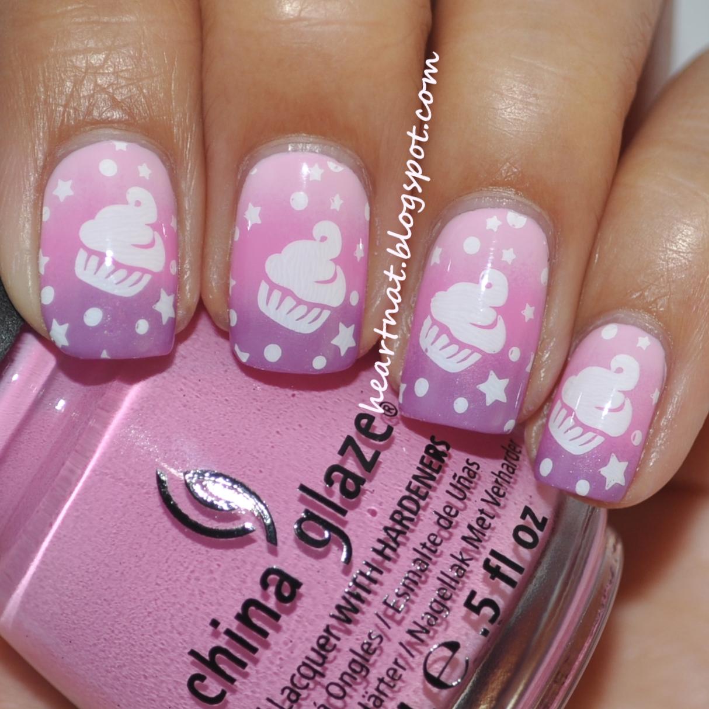 Cupcake Nails: Heartnat: Pink To Purple Gradient Cupcake Nails