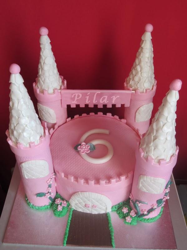 tarta fondant, cumpleaños, castillo de princesa