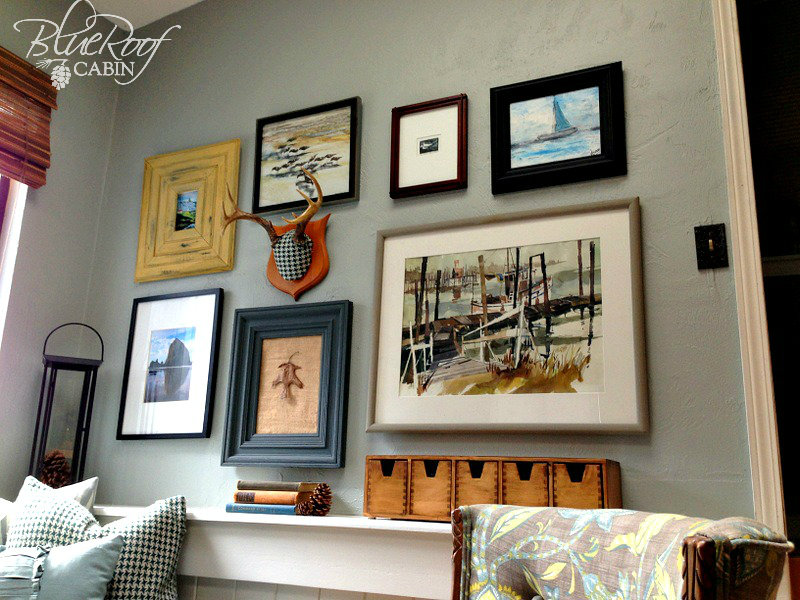 Blue roof cabin eclectic gallery wall - Eclectic picture frame wall ...