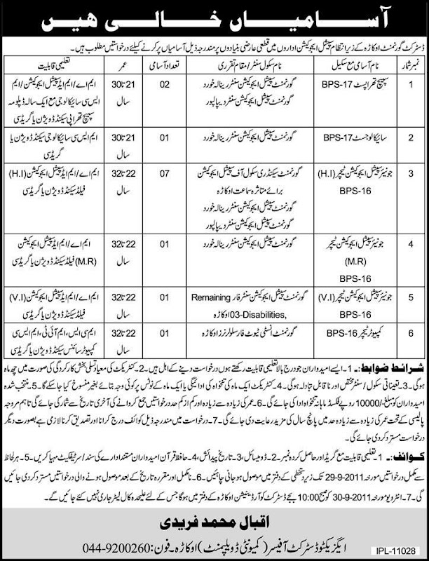 District Officer Community Development Department Okara Jobs