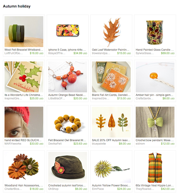 group of curated items in the theme of the changing colors of the autumn season