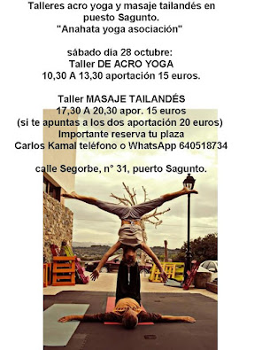 """Taller Acro-Tailandes, sabado en Puerto de Sagunto""""Anahata"""""""