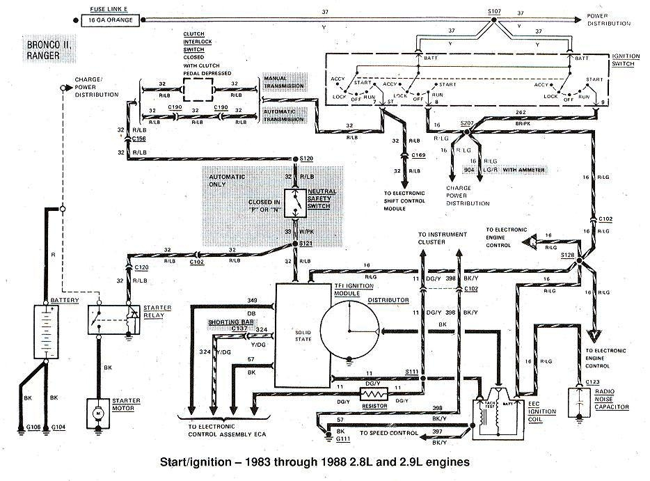 1983 1988 Ford Bronco Ii Start Ignition on 1980 ford charging system diagram