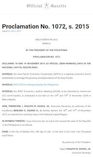 Proclamation No. 1072