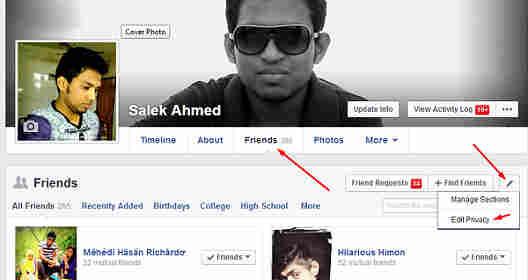 friend manage facebook