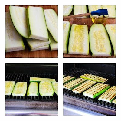 process photos for Grilled Zucchini Low-Carb Lasagna (with Italian Sausage, Tomato, and Basil Sauce) found on KalynsKitchen.com