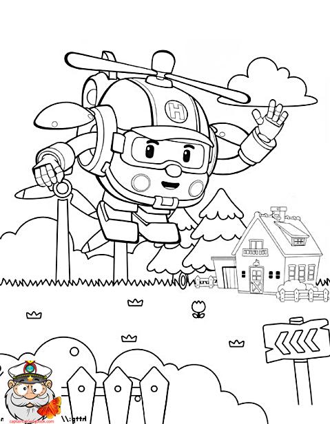robocar poli coloring page