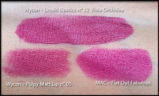 Wycon Cosmetics - Liquid Lipstick n° 12 - Viola Orchidea - Confronto con MAC Flat Out Fabulous e Wycon Puply Matt Lip n° 05