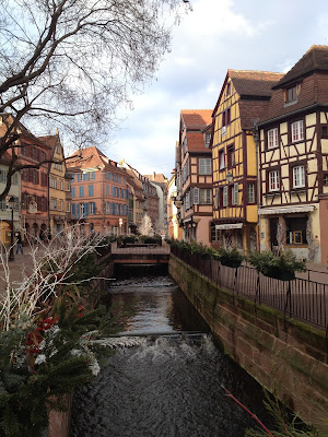 Colmar riverside, France.  Colourful timber front houses