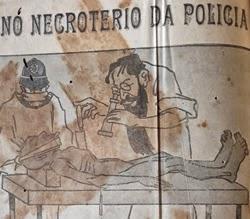 Propaganda dos Chocolates Lacta em 1917 com um morto em necrotério.