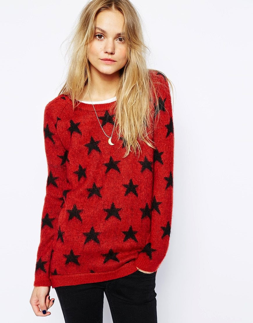 red and black star jumper