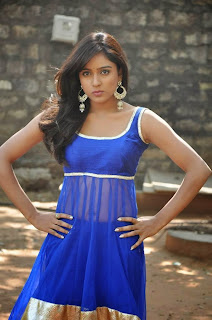 Actress Vithika Sheru Latest Pictures in Blue Salwar Kameez at Paddanandi Premalo Mari Movie First Look Launch 13