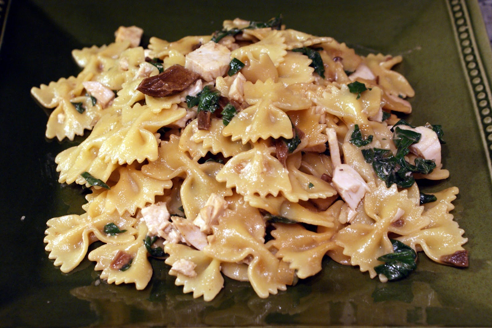 ... Mann: Bow Tie Pasta with Chicken, Porcini Mushrooms and Green Chard