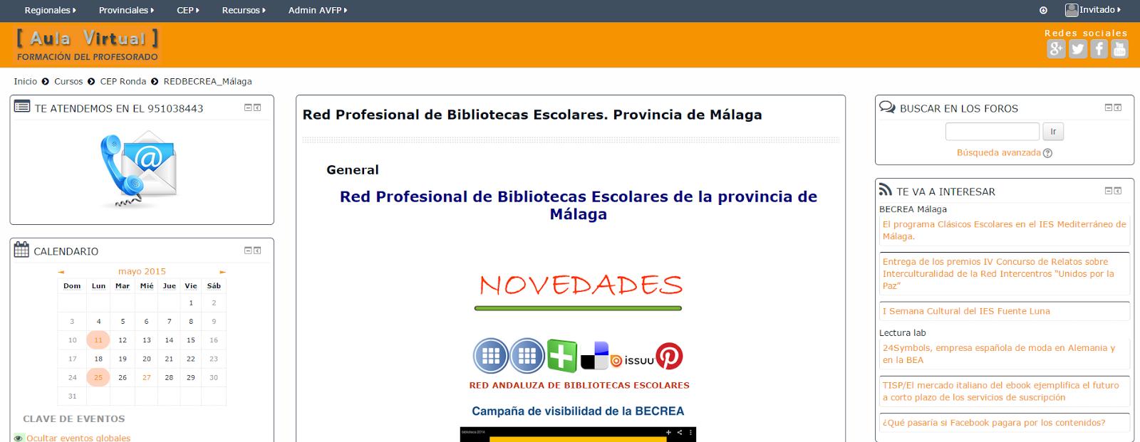 RED PROFESIONAL DE BIBLIOTECAS ESCOLARES. PROVINCIA DE MÁLAGA