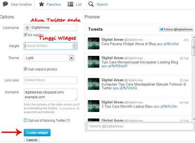 Cara Pasang Widget Twitter di Blog