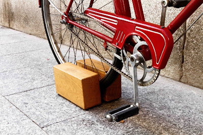 bike stand made of wood